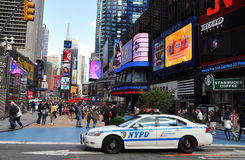 NYPD police car in Times Square royalty free stock images