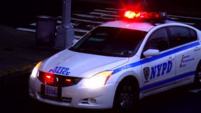 NYPD Police Car USA cityscapes stock video footage