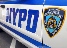 NYPD police cruiser. June 2012 New York Police Department logo on an NYPD police cruiser royalty free stock photos