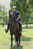 NYPD police officer on horseback ready to protect public at Billie Jean King National Tennis Center during US Open 2013 Stock Images
