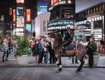 NYPD-politiepaard en ruiter na wordt opgeschrokken in Times Square, New York, de V.S. royalty-vrije stock afbeeldingen