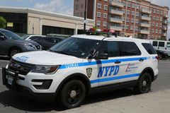 NYPD provides security during Bay Fest street festival on Sheepshead Bay in Brooklyn. BROOKLYN, NEW YORK - MAY 20, 2018: NYPD provides security during Bay Fest stock photography