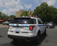 NYPD provides security during Bay Fest street festival on Sheepshead Bay in Brooklyn. BROOKLYN, NEW YORK - MAY 20, 2018: NYPD provides security during Bay Fest royalty free stock photos