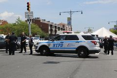NYPD provides security during Bay Fest street festival on Sheepshead Bay in Brooklyn. BROOKLYN, NEW YORK - MAY 20, 2018: NYPD provides security during Bay Fest royalty free stock photography