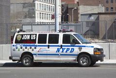 NYPD recruit car in midtown Manhattan Royalty Free Stock Images