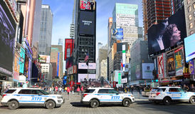 NYPD Security In Times Square. NYPD vehicles parking in Times Square securing the most busy area in Manhattan, NY royalty free stock photography