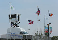 NYPD Sky Watch platform placed near National Tennis Center Royalty Free Stock Photography