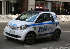 NYPD smallest car Smart ForTwo in Midtown Manhattan. Royalty Free Stock Photos