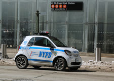NYPD smallest car Smart ForTwo in Midtown Manhattan. Royalty Free Stock Images