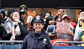 NYPD and SS4 Fans in Times Square Royalty Free Stock Photos