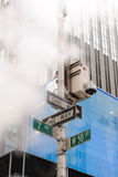 NYPD Surveillance Camera. An NYPD Surveillance Camera in the mist, located at 7 Av and W 50 st in Times Square, New York City Stock Images