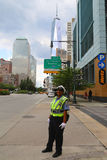 NYPD Traffic Control Police Officer near Freedom Tower in Manhattan Stock Photos
