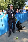 NYPD transit bureau K-9 police officer and Belgian Shepherd K-9 Taylor providing security at National Tennis Center during US Open Royalty Free Stock Image