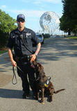 NYPD transit bureau K-9 police officer and K-9 dog providing security at National Tennis Center Stock Photography