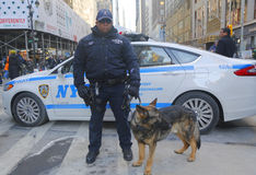 NYPD transit bureau K-9 police officer and K-9 German Shepherd providing security on Broadway during Super Bowl XLVIII week. NEW YORK - JANUARY 30 NYPD transit royalty free stock photography