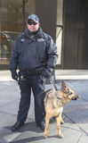 NYPD transit bureau K-9 police officer and K-9 German Shepherd providing security on Broadway during Super Bowl XLVIII week Royalty Free Stock Photos