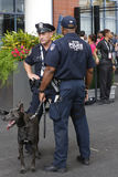 NYPD transit bureau K-9 police officers and Belgian Shepherd K-9 Sam  providing security at National Tennis Center during US Open Stock Photos