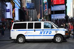 NYPD Van In Times Square stock photo