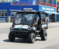NYPD vehicle at Coney Island Boardwalk in Brooklyn stock photography