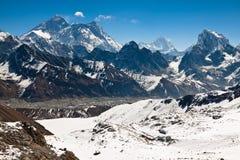 著名峰顶珠穆琅玛,洛子峰, Nyptse晴天。喜马拉雅山 免版税库存照片