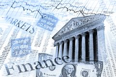 NYSE stock index and exchange rate table Royalty Free Stock Image