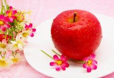 Nytt äpple på rosa bakgrund Royaltyfria Bilder