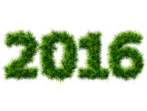 Nytt år 2016 av julträdfilialer på vit Arkivfoto