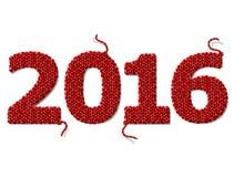 Nytt år 2016 av stuckit tyg på vit bakgrund Arkivbilder