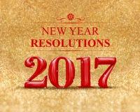 Nytt år 2017 3d som framför röd färg på guld- mousserande glitt Fotografering för Bildbyråer