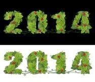 Nytt år 2014. Datumet fodrade gröna sidor med droppar av dagg och rött Arkivbild