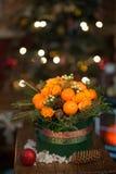 Nytt år en bukett av blommor och tangerin Royaltyfri Foto
