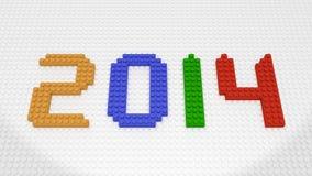 Nytt år 2014 - färgrika tegelstenar på den vita grundplattan Royaltyfri Foto