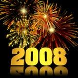 nytt år för 2008 fyrverkerier Arkivfoton