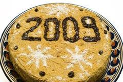 nytt år för 2009 cake Arkivfoton