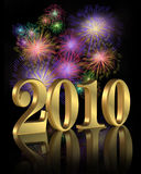 nytt år för 2010 digitala fyrverkerier Arkivfoton