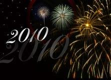 nytt år för 2010 fyrverkerier Arkivbild