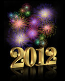 nytt år för 2012 fyrverkerier Royaltyfri Foto