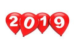 nytt år för begrepp Röd jul sväller med tecken 2019 3d sliter stock illustrationer