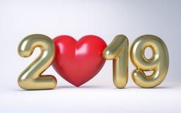 Nytt år 2019 för guld- nummer med en röd hjärta 3d framför royaltyfria foton
