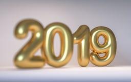 Nytt år 2019 för guld- nummer med ett djup av fältet 3d framför royaltyfri foto