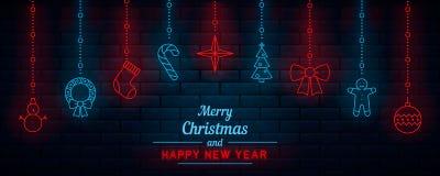 nytt år för jul neon royaltyfri illustrationer