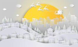 nytt år för jul Santa Claus och ren på himlen och royaltyfri illustrationer