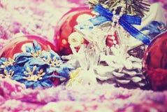 nytt år för julgarneringar Arkivfoton