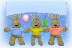 nytt år för julhares Arkivfoton