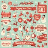 nytt år för julsymboler royaltyfri illustrationer