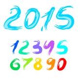 Nytt år för kalligrafivektor 2015, uppsättning av siffror Fotografering för Bildbyråer