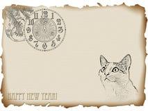 nytt år för katt Royaltyfri Fotografi