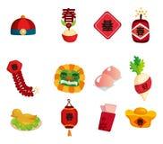 nytt år för kinesiska dekorativa element stock illustrationer