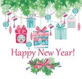 nytt år för kortjul Arkivbild