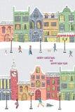 nytt år för kortjul Snöig stad på feriehelgdagsaftonen stock illustrationer